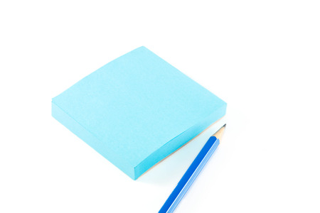 business supplies: notepaper,pencil on white background.