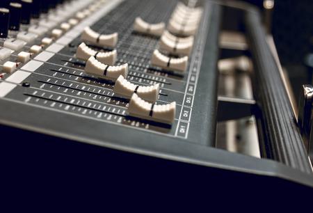 selective focus sound mixer background. Stock Photo