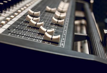 soundboard: selective focus sound mixer background.