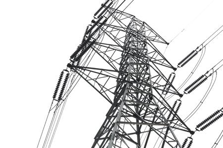 high voltage current: high voltage tower on white background.