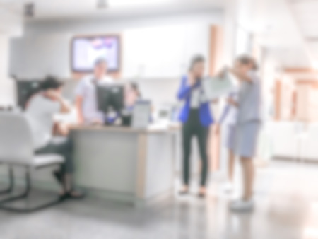 exam room: Blur background the  patient is contacting nurse for treatment in hospital.Nurse work with together. Stock Photo