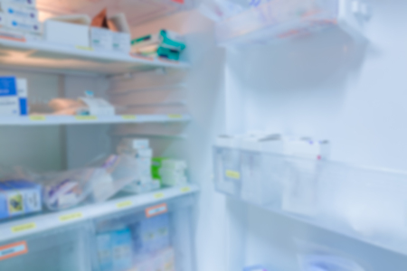refrigerator: blur background drug shelves in refrigerator Stock Photo