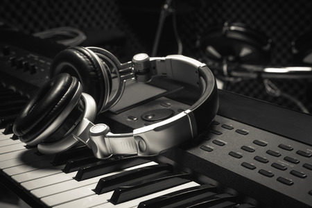 headphone on piano background.