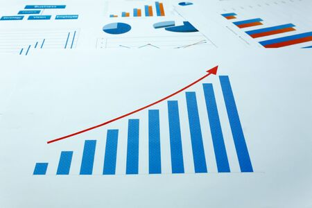 business background grown up concept the business chart document background. Stock Photo