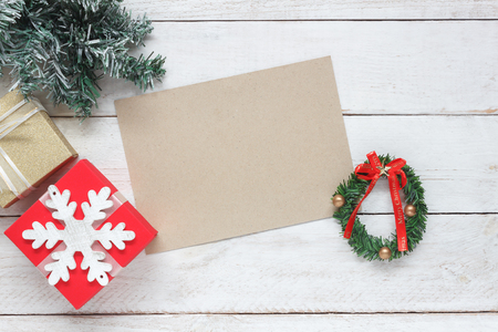 Table top view aerial image of accessories to travel on Merry Christmas & Happy New Year trip background concept.All object on modern rustic white wooden at home office desk studio.Free space for text 스톡 콘텐츠
