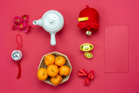Chinese language mean rich or wealthy and happy.Table top view Lunar New Year & Chinese New Year.Flat lay orange and pig doll toy kid with cherry blossom and cookie fortune decor on modern red paper.