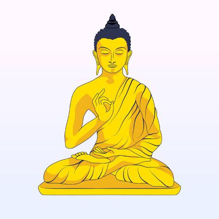 buddha statue: Gold Statue of the Sitting Buddha Illustration