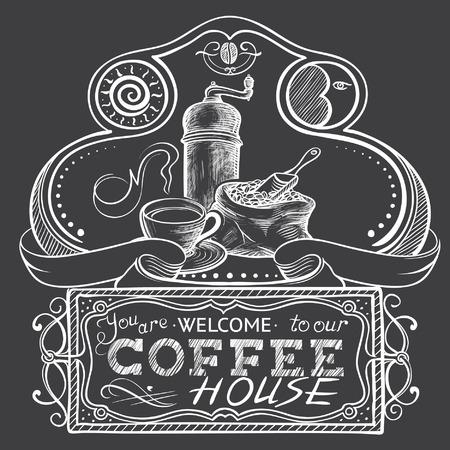 molinillo: Frame Freehand Ornamental y firme con café Naturaleza muerta Vectores