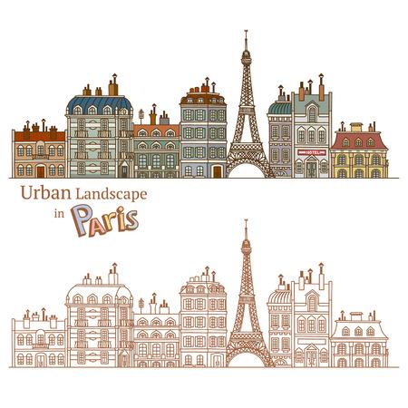 Design of Urban Landscape and Typical Parisian Architecture Vector