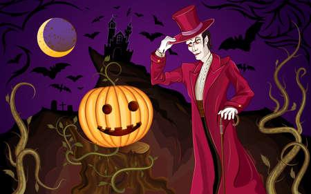 Halloween Poster with the Vampire and a Pumpkin Vektorgrafik