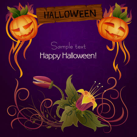 Halloween Sign with Floral Ornament
