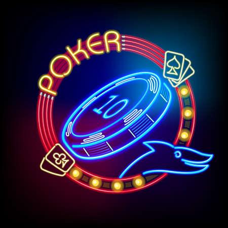 Poker Casino Token in Neon Light Ilustração