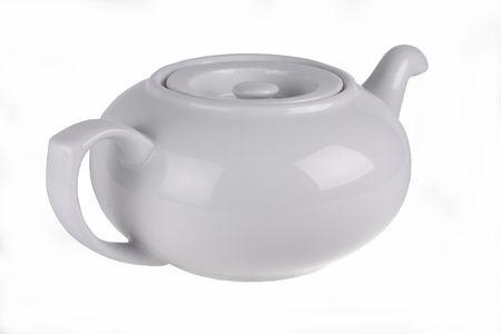 White kettle on a white background photo