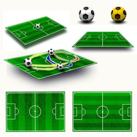futbol soccer dibujos: Collage de campo de f�tbol t�ctica de la tabla, el mapa en la geometr�a de la perspectiva, balones de f�tbol Foto de archivo