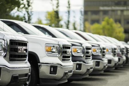 September 19 2015 - GMC Trucks in parking lot of Shaganappi Motors, Calgary Alberta