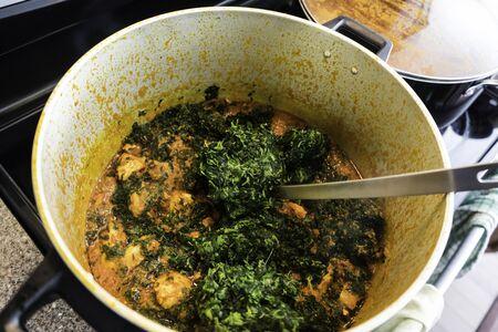 cooking Nigerian Vegetable Stew
