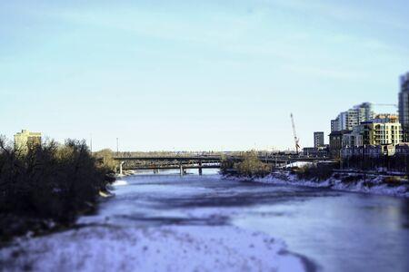 Bridge over river in downtown Calgary