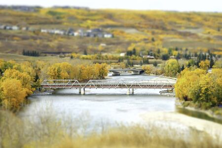Bridge over river in Fall