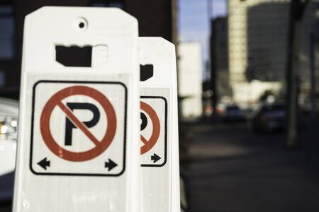 No parking sign in Urban Downtown Street
