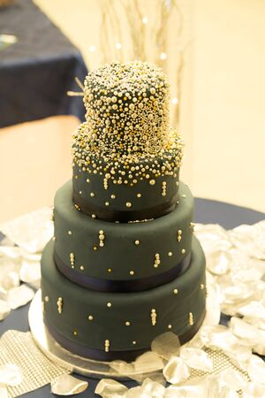 Wedding Cake at a reception Stock Photo