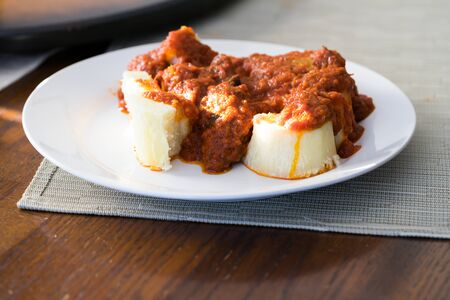 Nigerian boiled yam and Pepper Stew tasty and spicy meal