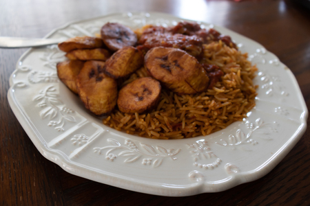Nigerian Jollof Rice with Fried Plantains