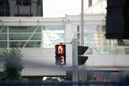 Traffic Signal in urban city counting down