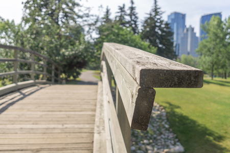 Small Bridge on footpath in city park with city skyline in background Imagens