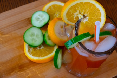 Nigerian Chapman mocktail served with ice and Garnishes