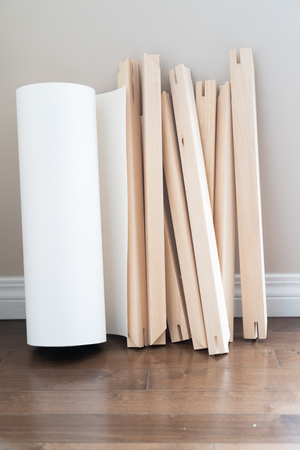 Roll of Canvas with Stretcher frames for print and framing photographs ont Canvas 写真素材