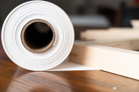 Roll of Canvas with Stretcher frames for print and framing photographs ont Canvas Banco de Imagens