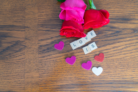 fresh cut roses for valantines day - Romantic Concept on wood k background