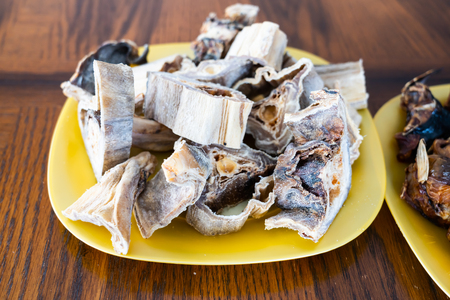 Pieces of Dried Nigerian Stockfish to prepare soups