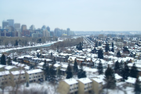 Tilt shift view of downtown Calgary in Winter