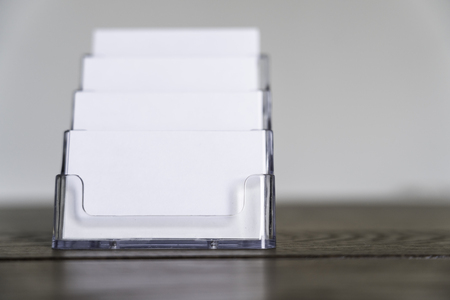 blank business card in a business card rack Stock Photo