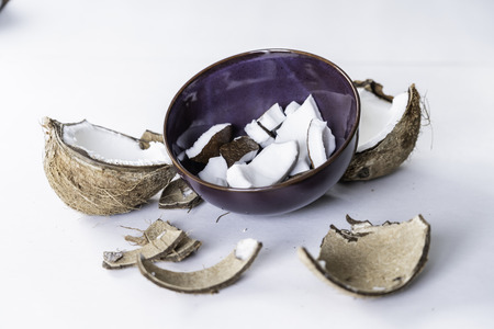peices of coconut in bowl ready to eat