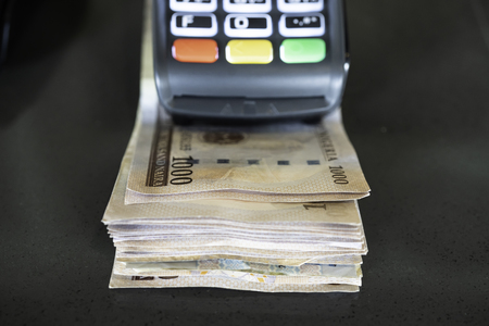 Point of Sale Machine with Nigerian Naira notes