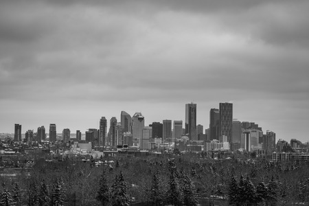 Monochrome of Calgary business district skyline