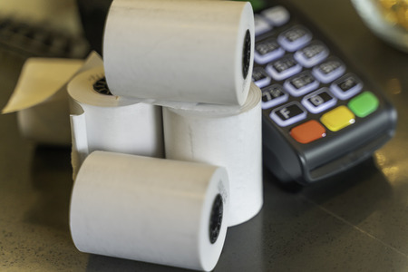 Thermal Paper Rolls with a point of sale machine Reklamní fotografie