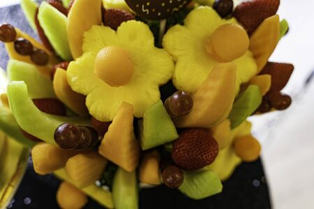 Edible Fruit basket arrangement with a variety of fruits
