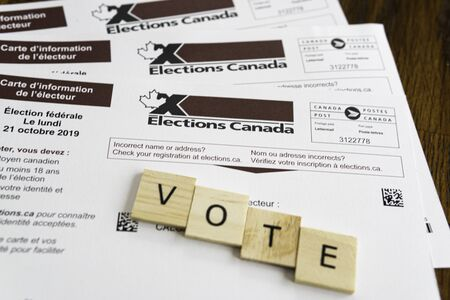 Election Canada voters registration cards for federal elections Stok Fotoğraf