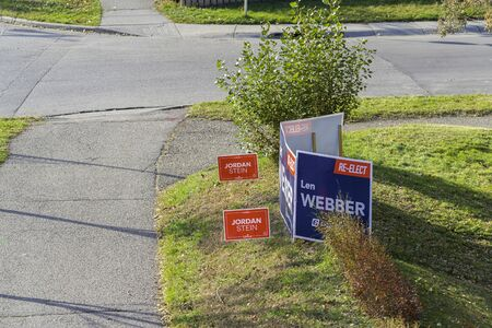 October 12 2019 - Calgary, Alberta, Canada - Federal Election Campaign Signs on street