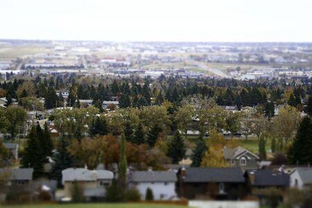 Calgary residential houses in fall autumn - tilt shift 版權商用圖片