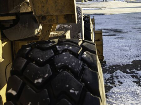 Construction equipment Tires on a construction site