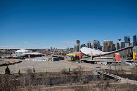 April 26 2020 - Calgary Alberta , Canada - Empty Calgary Stampede grounds . Stampede cancelled for 2020 due to Coronavirus