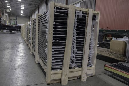 Crate of metal roofing sheets for delivery to construction site