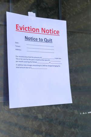 Eviction Notice served to tenant hanging on door Standard-Bild