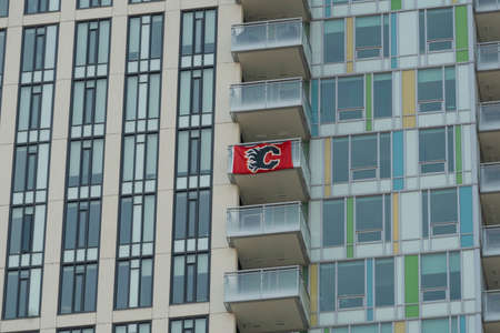 September 5 2020 - Calgary Alberta Canada - Calgary Flames Flag on Aprtment balcony