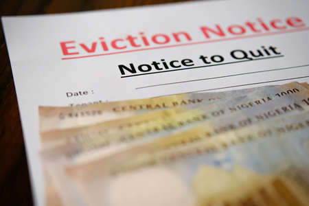 Eviction notice with Cash Canadian Dollars to pay outstanding