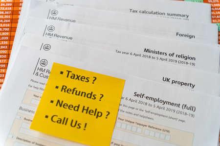 United Kingdom HM Revenue tax forms - Tax Preparation concept